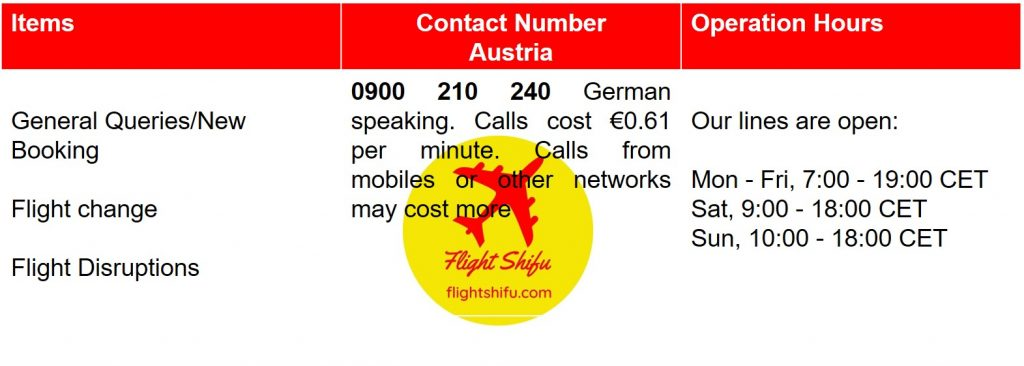 Ryanair Austria Contact Number