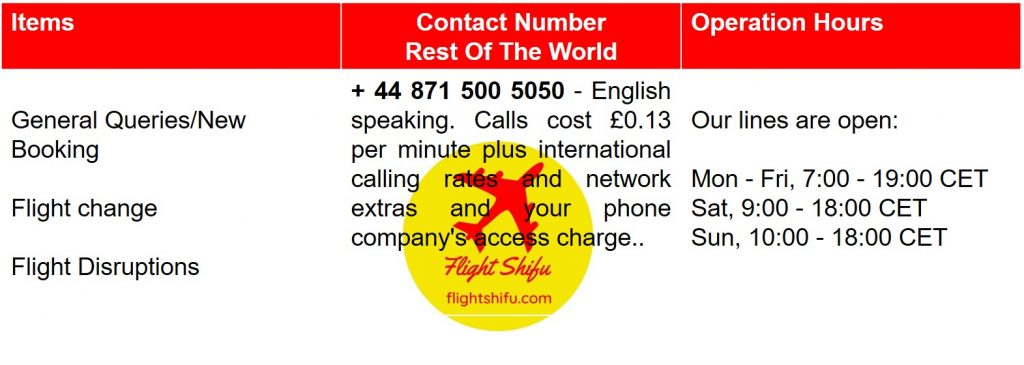 Ryanair Rest of The World Contact Number