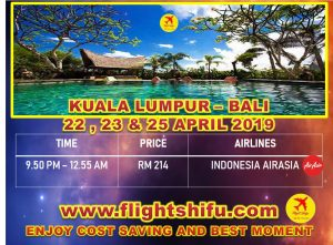 Cheap Flights From Kuala Lumpur To Bali 22-25 April 2019